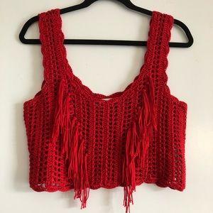 Zara fringe knit crop top
